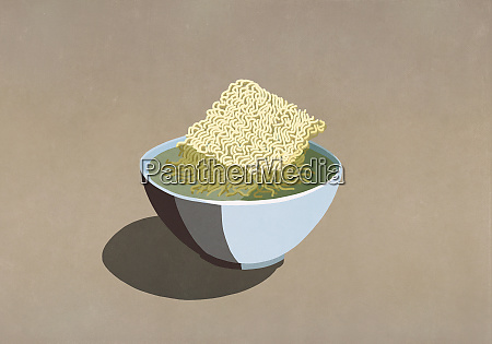processed ramen noodles in bowl of