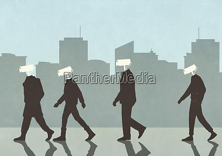 men with surveillance camera heads in