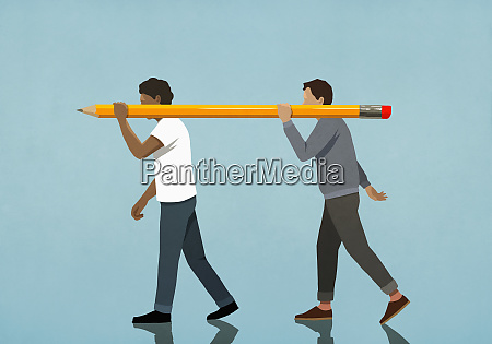 men carrying large pencil