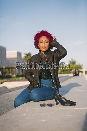 portrait confident stylish woman relaxing in