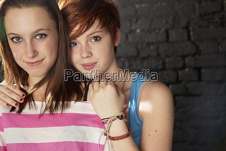 portrait confident teenage girl friends