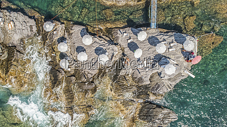 aerial view from above beach umbrellas