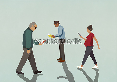 people reading books and walking