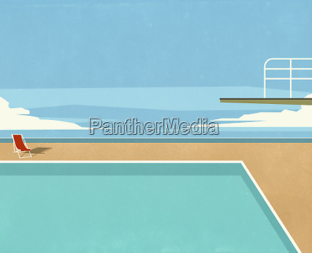 diving board over swimming pool with