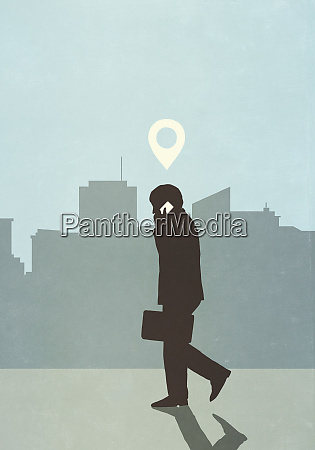 map pin icon above businessman walking