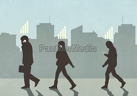 cellular reception bars above pedestrians walking