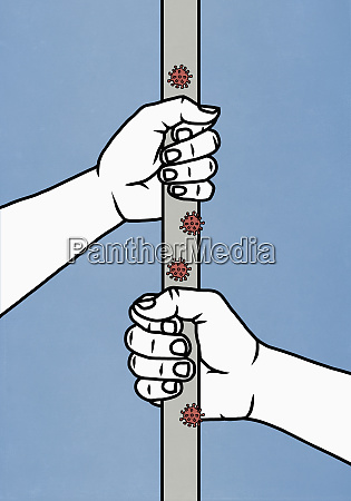hands holding pole covered with covid