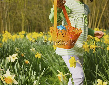 girl with basket enjoying easter egg