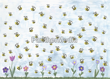 bumblebees flying above spring flowers