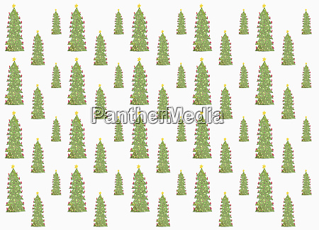 decorated christmas tree pattern on white