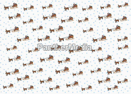 illustration santa claus and sleigh pattern
