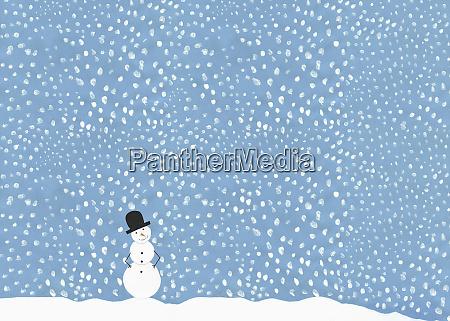 illustration snowman against snowy blue sky