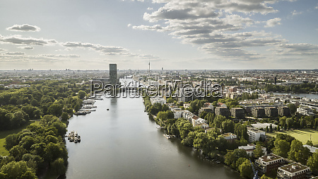 sunny scenic view berlin cityscape and