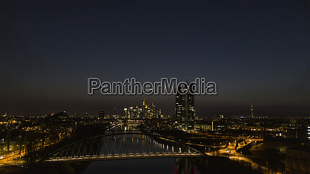 frankfurt cityscape illuminated at night germany