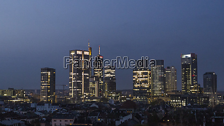 skyscrapers in cityscape at night frankfurt
