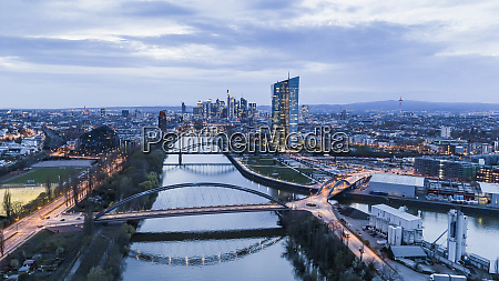 frankfurt cityscape at dusk germany