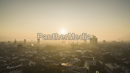 sunset over duesseldorf cityscape north rhine
