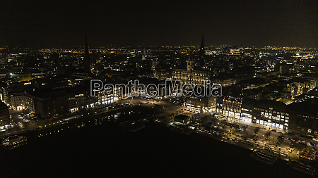 hamburg cityscape illuminated at night germany