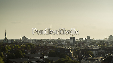 heinrich hertz tower and hamburg cityscape