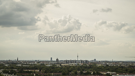 clouds over munich cityscape bavaria germany