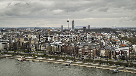 colonius tv tower above cologne cityscape