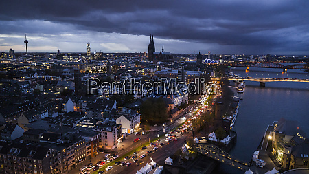 cologne cityscape illuminated at night germany