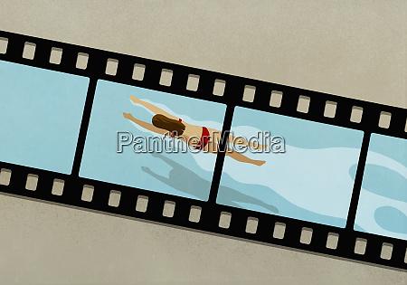 woman swimming in water on film