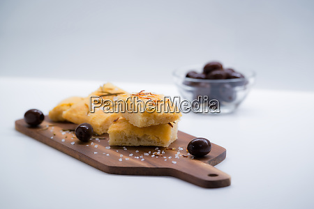 italian focaccia with onion and olives