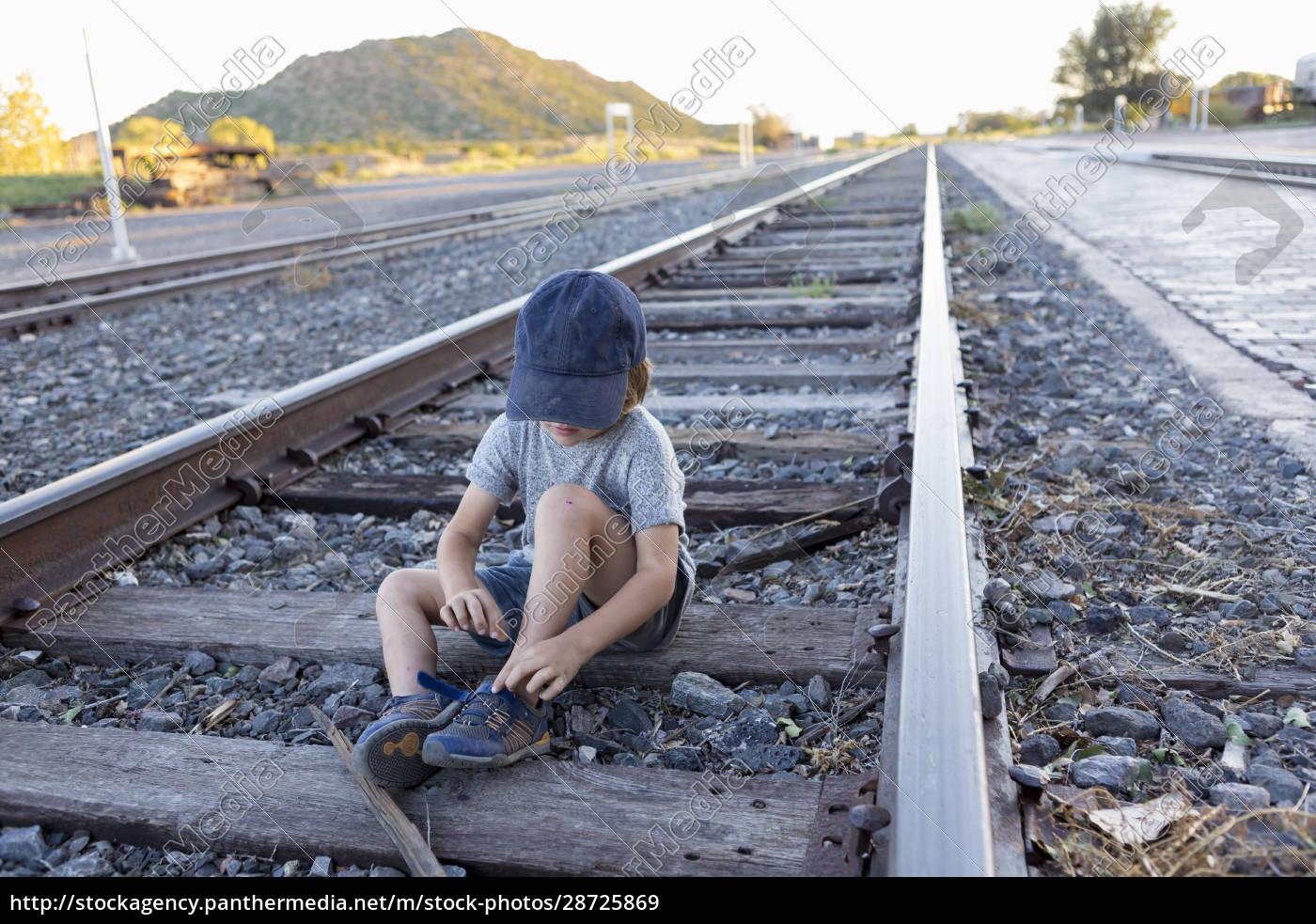 4, year, old, boy, on, railroad - 28725869