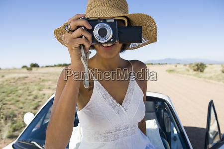 native american woman in sun dress