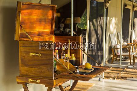 wooden liquor cabinet at a safari