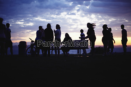 silhouettes of people during party at