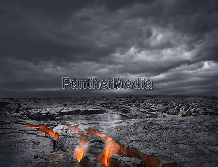 usa hawaii lava in volcanic rock