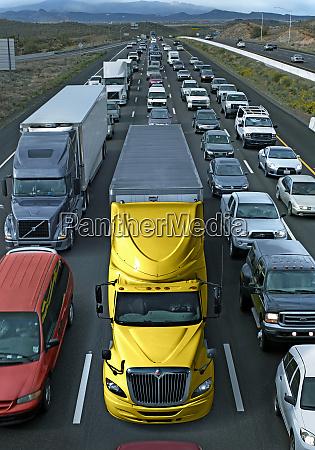usa michigan trucks in traffic jam