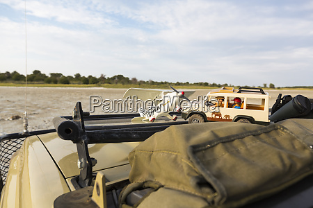toys on safari vehicle botswana