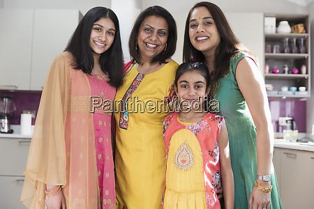 portrait happy multigenerational indian women in
