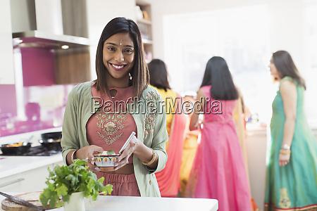 portrait happy indian woman in sari