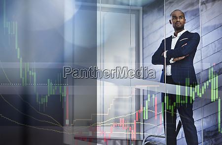 data graph over serious businessman