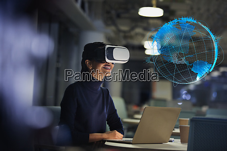 businesswoman with virtual reality glasses looking