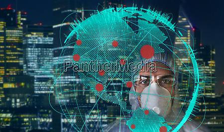 portrait scientist in flu mask behind