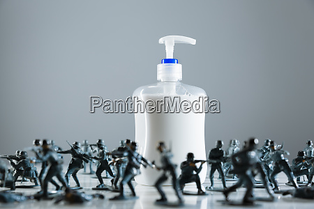 toy soldiers guarding hand soap during