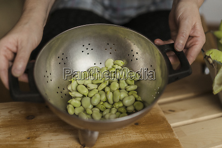 peeled beans in colander