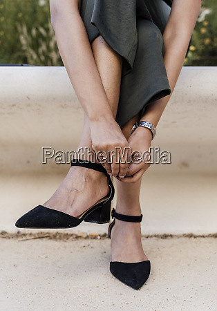 close up of woman legs wearing