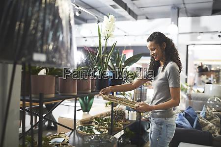 woman shopping in home decor shop