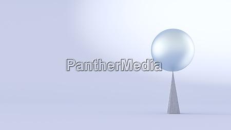 three dimensional render of sphere balancing