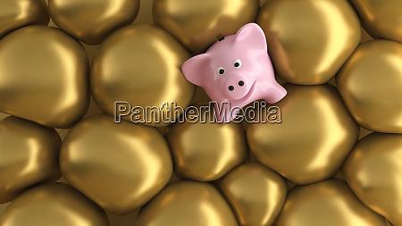 three dimensional render of piggy bank