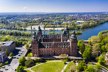 germany bavaria aschaffenburg helicopter view ofjohannisburg