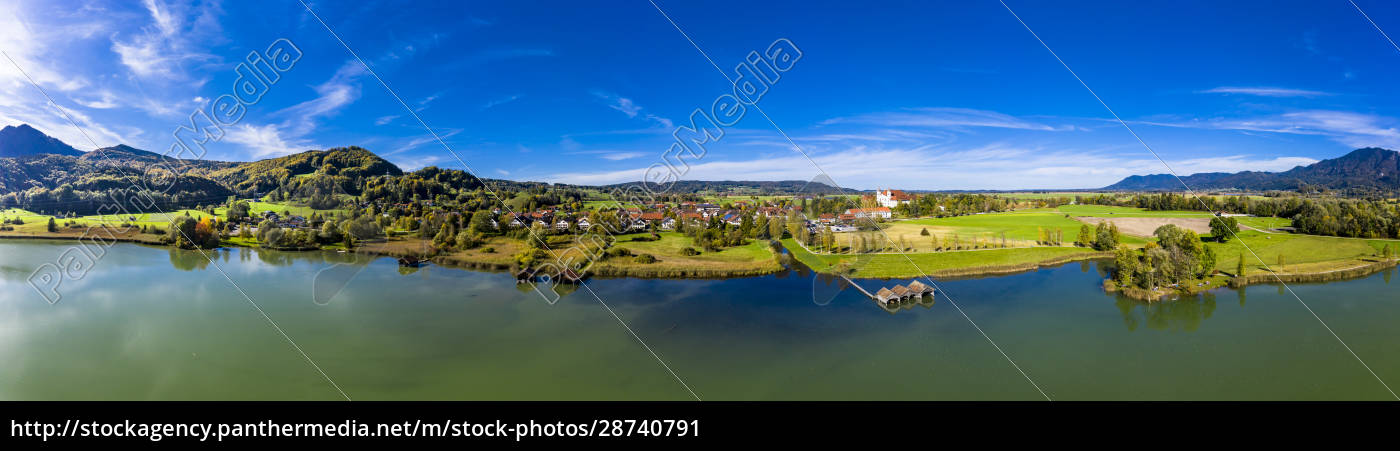 germany, , bavaria, , schlehdorf, , aerial, panorama, of - 28740791