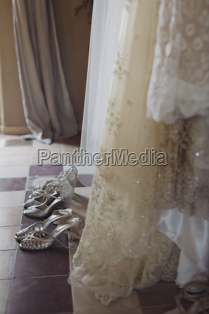 wedding dresses and shoes on the