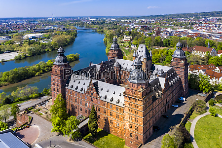 germany bavaria aschaffenburg helicopter view of